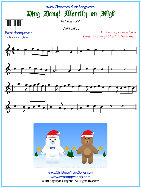 Beginner version of piano sheet music for Ding Dong! Merrily on High