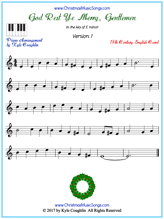Beginner version of piano sheet music for God Rest Ye Merry, Gentlemen