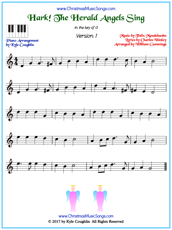 Beginner version of piano sheet music for Hark! The Herald Angels Sing