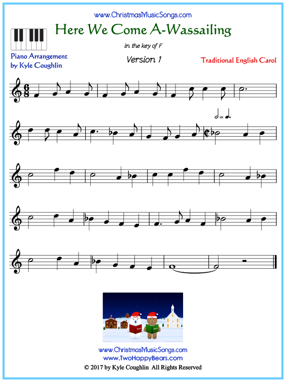 Beginner version of piano sheet music for Here We Come A-Wassailing