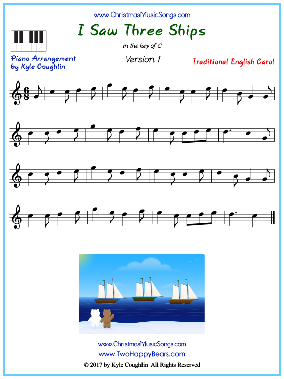 Beginner version of piano sheet music for I Saw Three Ships