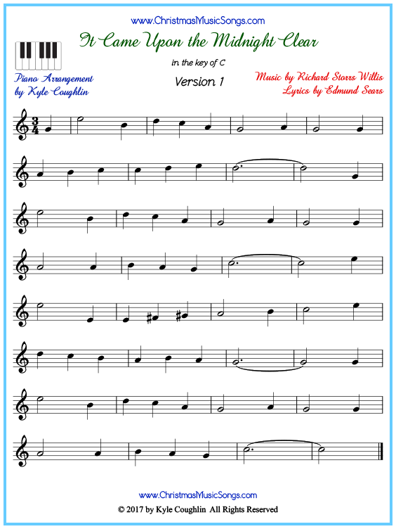 Beginner version of piano sheet music for It Came Upon the Midnight Clear