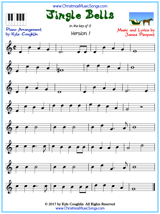 Beginner version of piano sheet music for Jingle Bells
