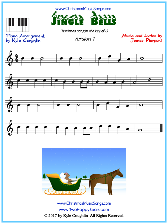 Beginner version of piano sheet music for Jingle Bells, short arrangement