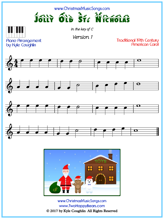 Beginner version of piano sheet music for Jolly Old Saint Nicholas