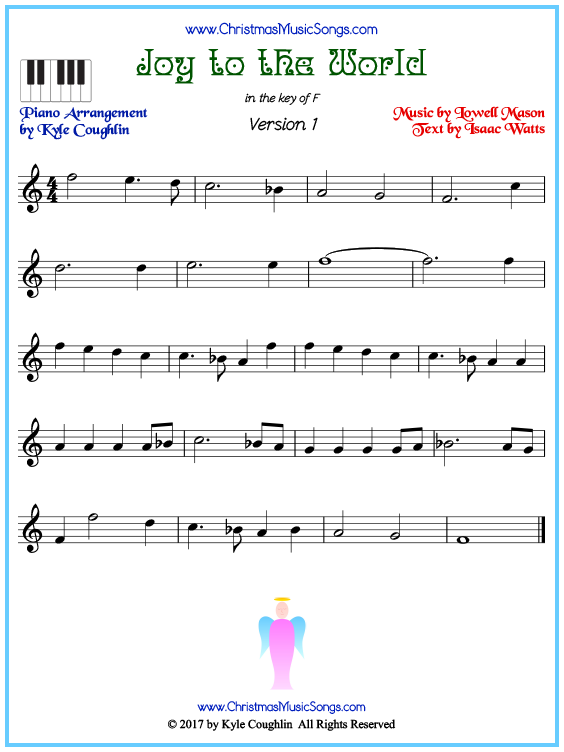 Beginner version of piano sheet music for Joy to the World
