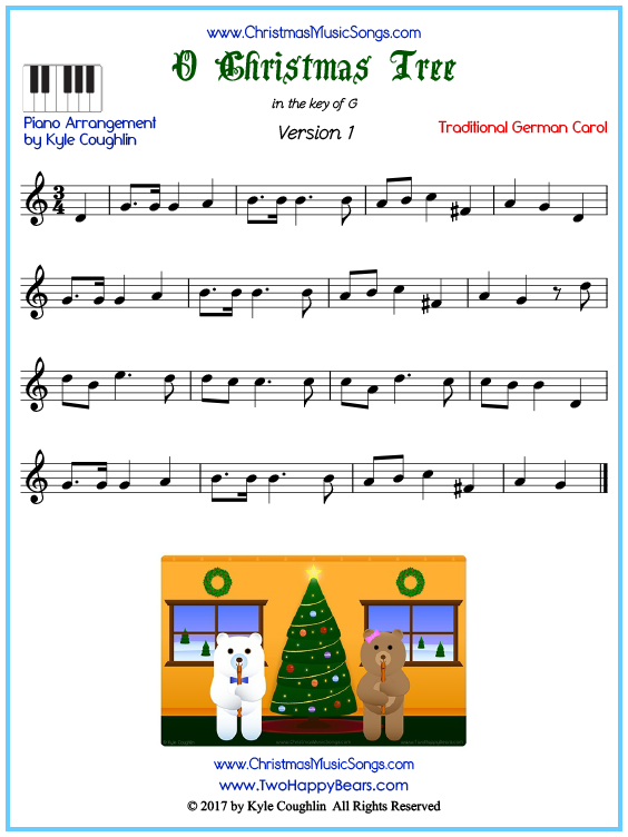 Beginner version of piano sheet music for O Christmas Tree