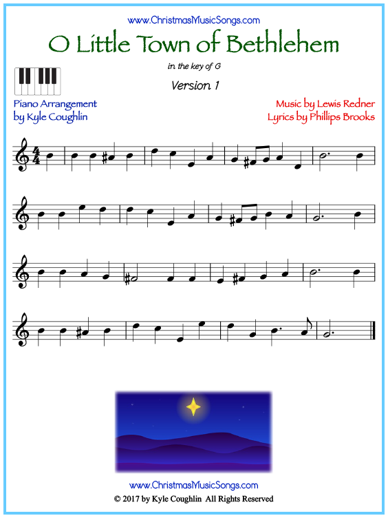 Beginner version of piano sheet music for O Little Town of Bethlehem