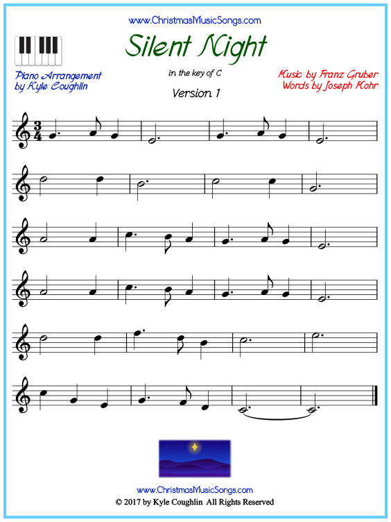 Beginner version of piano sheet music for Silent Night