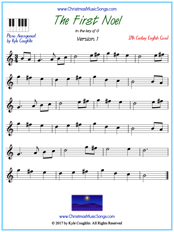 The First Noel Piano Sheet Music Free Printable Pdf
