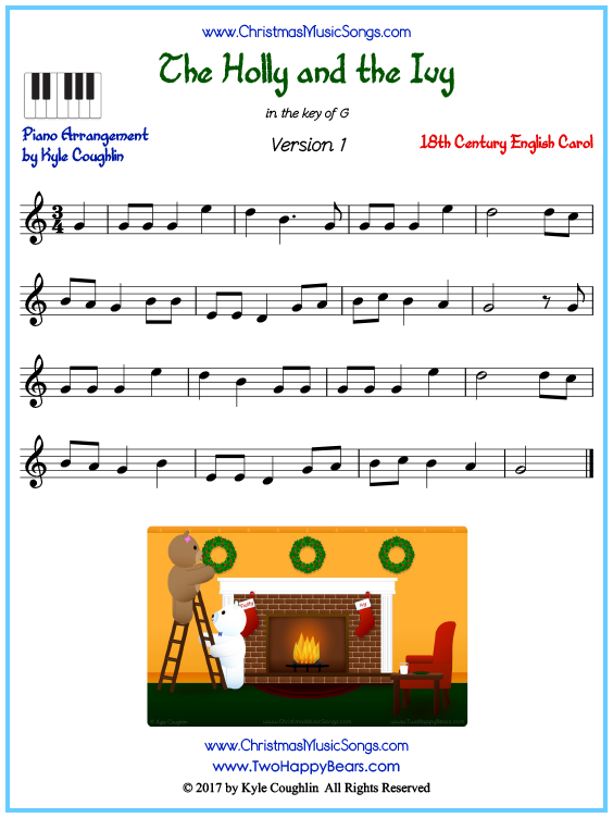 Beginner version of piano sheet music for The Holly and the Ivy