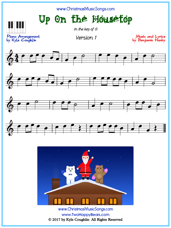 Beginner version of piano sheet music for Up On the Housetop
