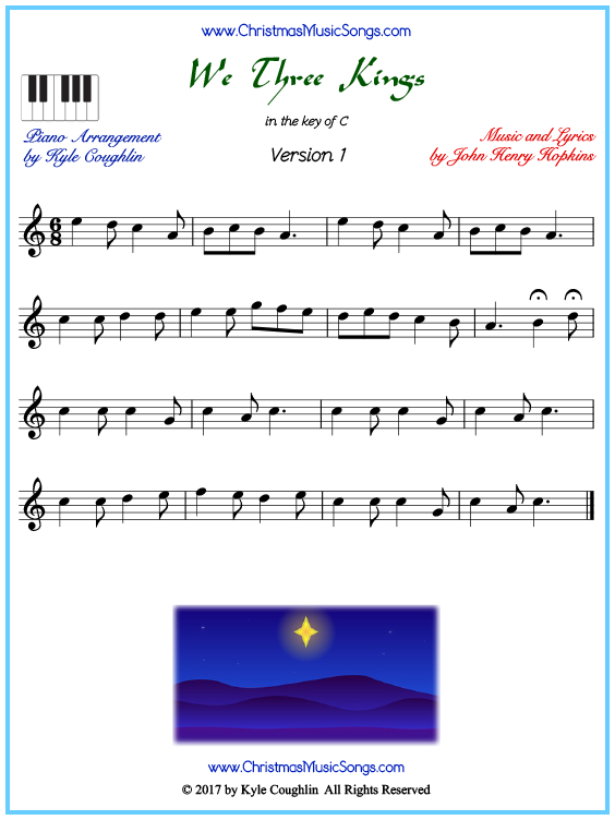 Beginner version of piano sheet music for We Three Kings