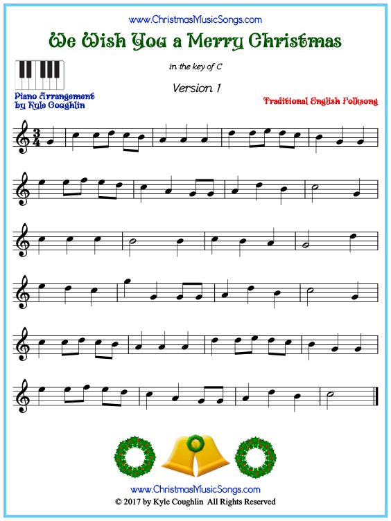 Beginner version of piano sheet music for We Wish You a Merry Christmas