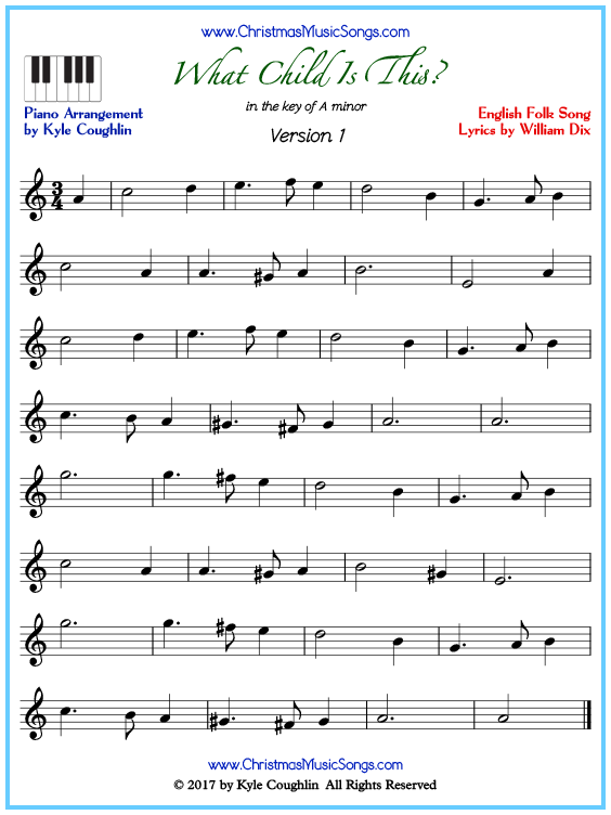 Beginner version of piano sheet music for What Child Is This