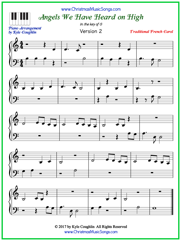 Easy version of piano sheet music for Angels We Have Heard on High