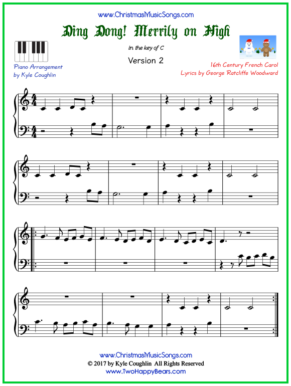 Easy version of piano sheet music for Ding Dong! Merrily on High