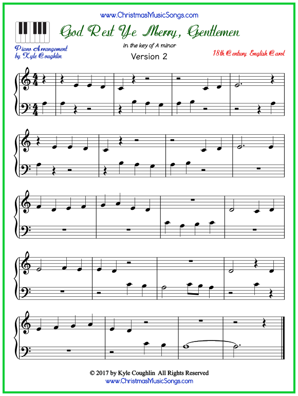 Easy version of piano sheet music for God Rest Ye Merry, Gentlemen