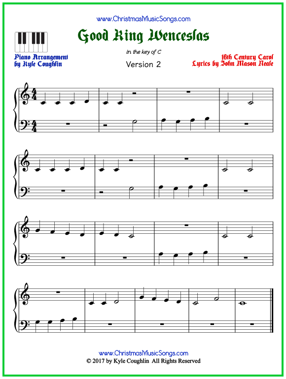 Easy version of piano sheet music for Good King Wenceslas