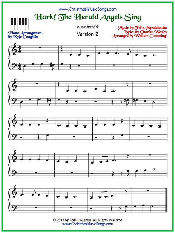 Easy version of piano sheet music for Hark! The Herald Angels Sing