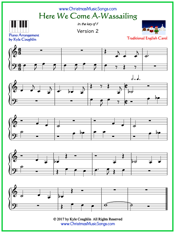 Easy version of piano sheet music for Here We Come A-Wassailing