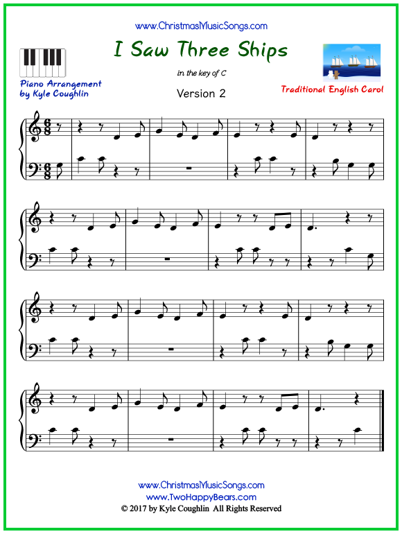 Easy version of piano sheet music for I Saw Three Ships
