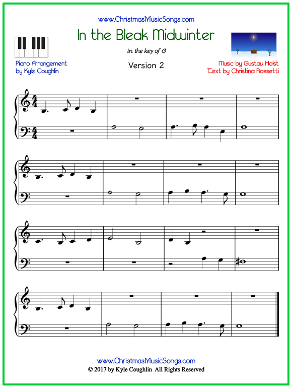 Easy version of piano sheet music for In the Bleak Midwinter