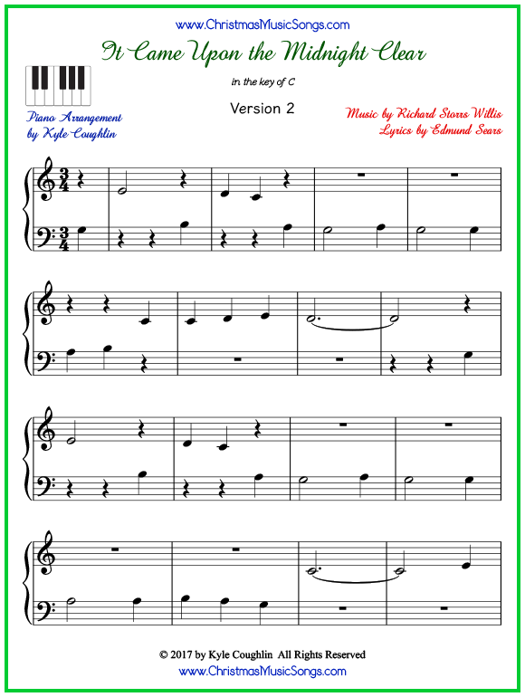 Easy version of piano sheet music for It Came Upon the Midnight Clear
