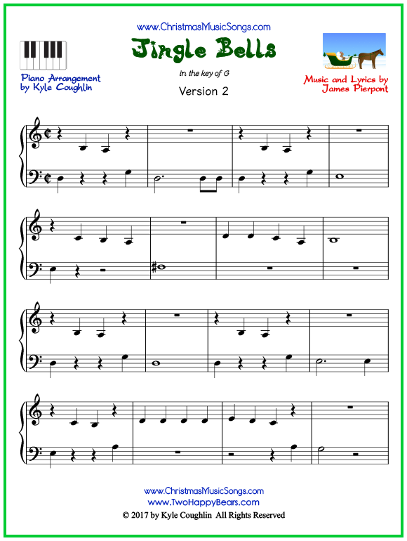Easy version of piano sheet music for Jingle Bells
