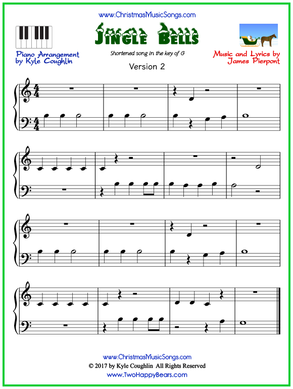 Easy version of piano sheet music for Jingle Bells, short arrangement