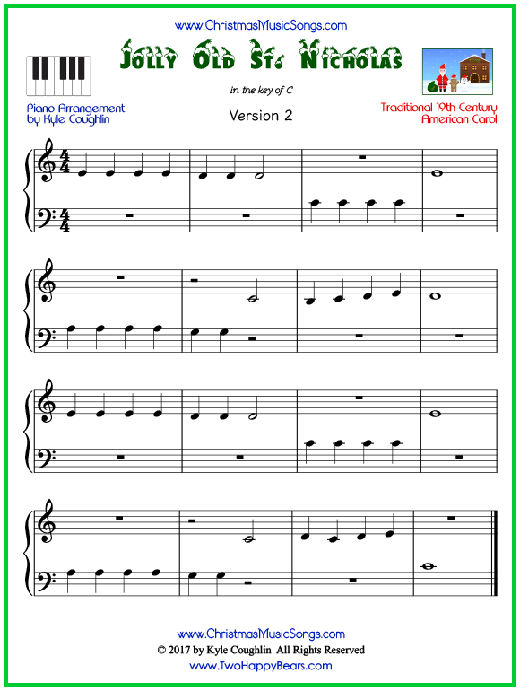 Easy version of piano sheet music for Jolly Old Saint Nicholas