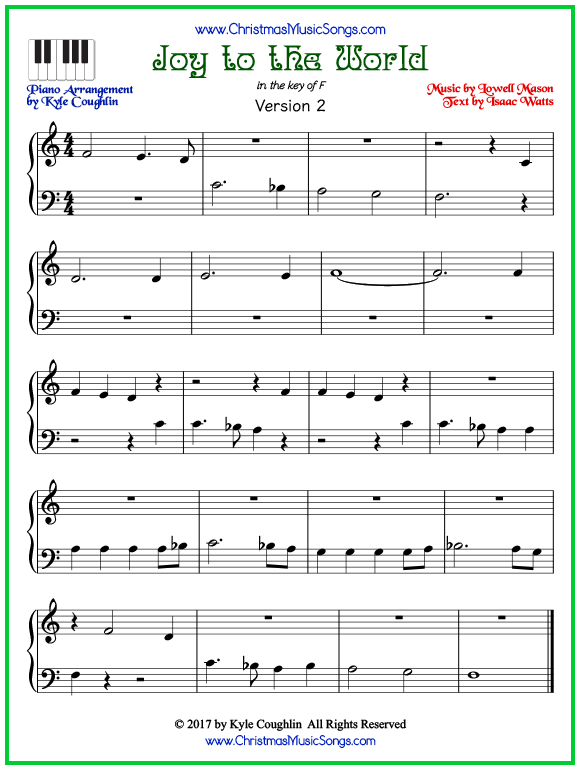 Easy version of piano sheet music for Joy to the World