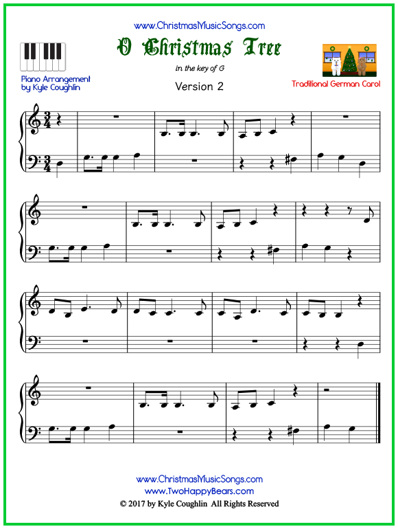 Easy version of piano sheet music for O Christmas Tree