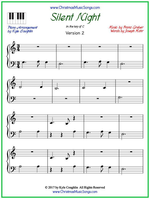 Easy version of piano sheet music for Silent Night