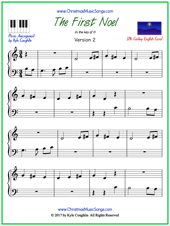 Easy version of piano sheet music for The First Noel