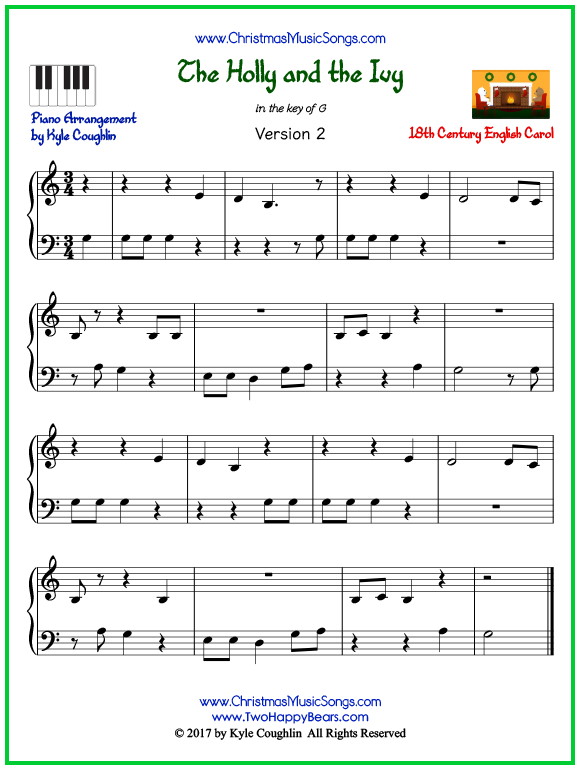 Easy version of piano sheet music for The Holly and the Ivy