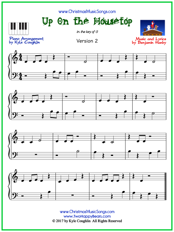 Easy version of piano sheet music for Up On the Housetop
