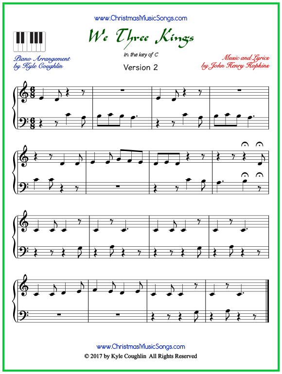 Easy version of piano sheet music for We Three Kings