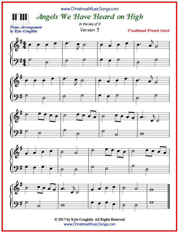 Simple version of piano sheet music for Angels We Have Heard on High