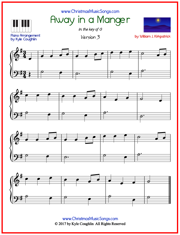 Simple version of piano sheet music for Away in a Manger by Kirkpatrick