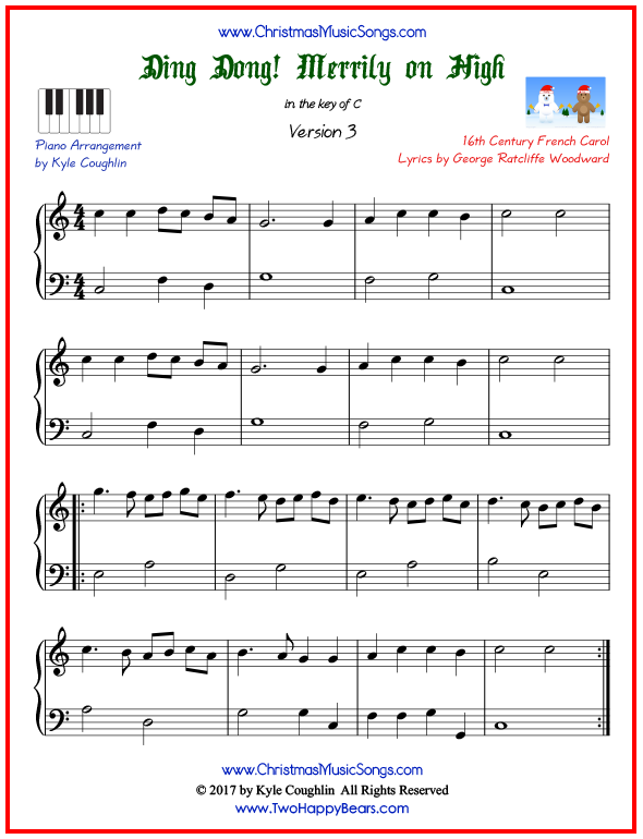 Simple version of piano sheet music for Ding Dong! Merrily on High