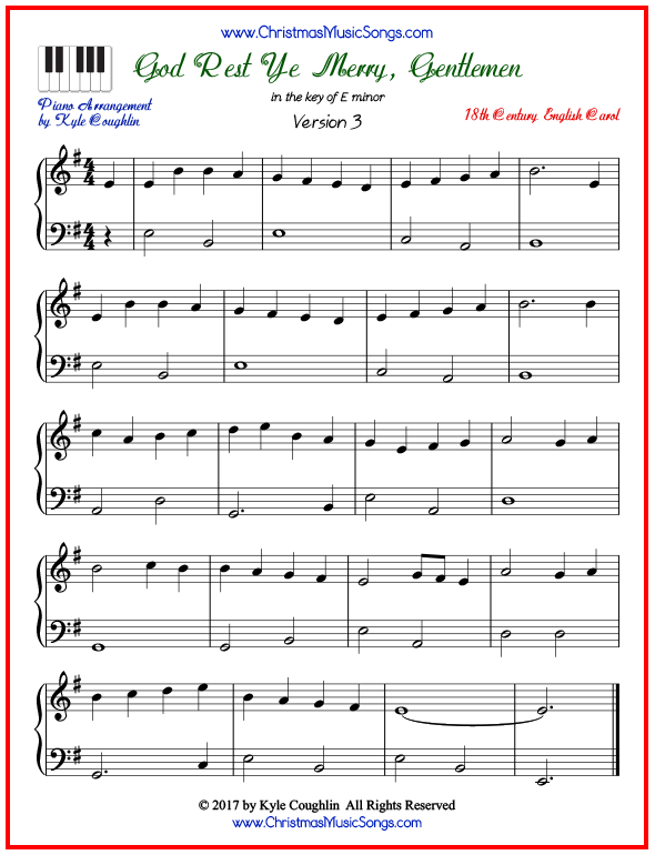 Simple version of piano sheet music for God Rest Ye Merry, Gentlemen