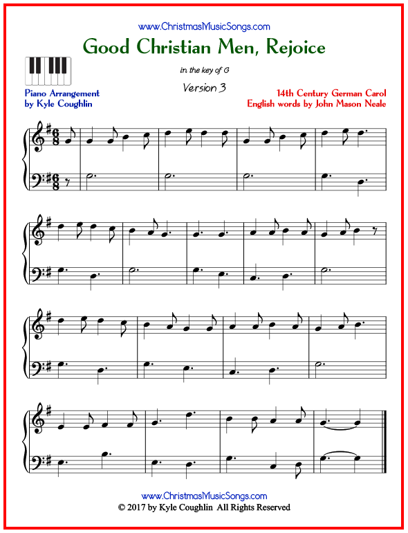 Simple version of piano sheet music for Good Christian Men, Rejoice