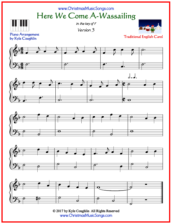 Simple version of piano sheet music for Here We Come A-Wassailing