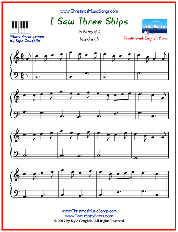 Simple version of piano sheet music for I Saw Three Ships