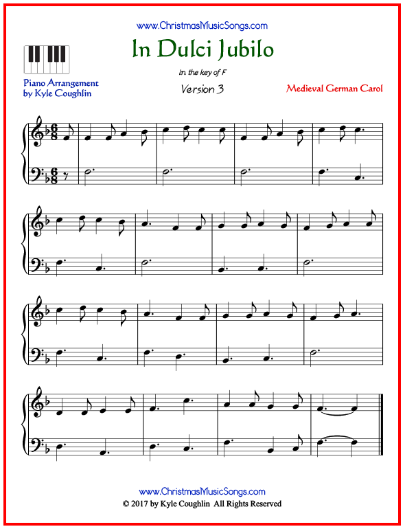 Simple version of piano sheet music for In Dulci Jubilo