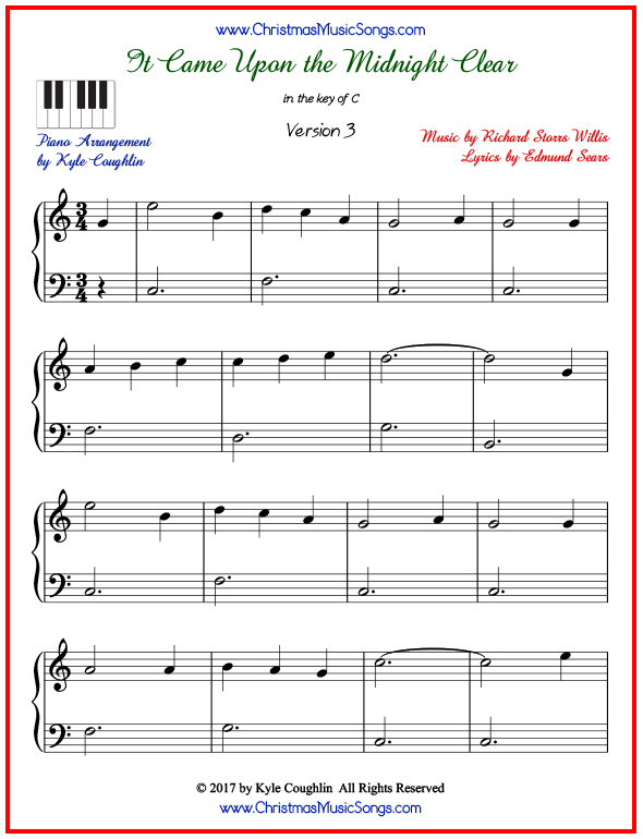 Simple version of piano sheet music for It Came Upon the Midnight Clear