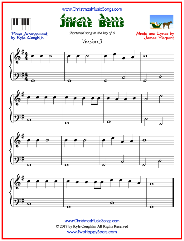 Simple version of piano sheet music for Jingle Bells, short arrangement