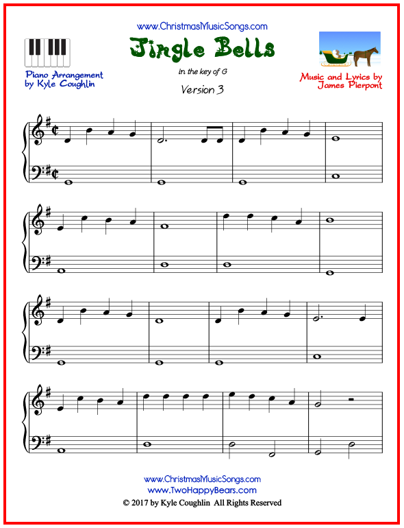 Simple version of piano sheet music for Jingle Bells