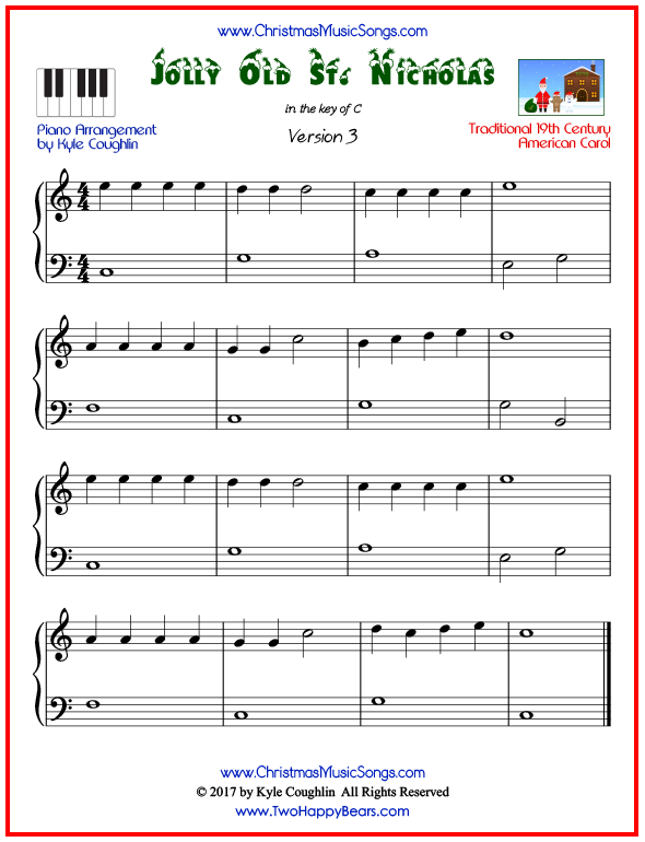 Simple version of piano sheet music for Jolly Old Saint Nicholas